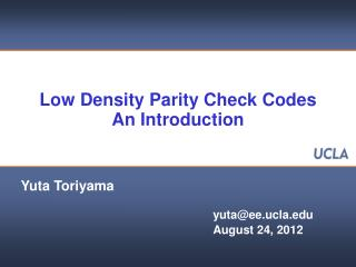 Low Density Parity Check Codes An Introduction