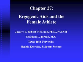 Chapter 27:   Ergogenic Aids and the Female Athlete