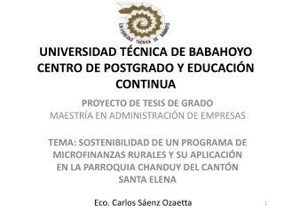 UNIVERSIDAD TÉCNICA DE BABAHOYO CENTRO DE POSTGRADO Y EDUCACIÓN CONTINUA