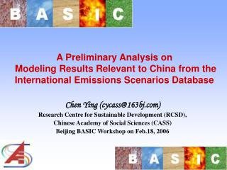 Chen Ying (cycass@163bj) Research Centre for Sustainable Development (RCSD),