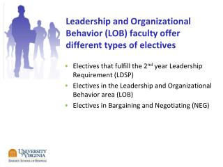 Leadership  and Organizational Behavior (LOB) faculty offer different types of electives
