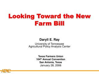 Looking Toward the New Farm Bill