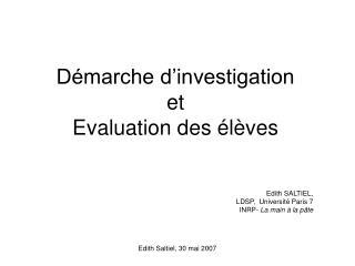 Démarche d'investigation et Evaluation des élèves