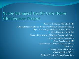 Nurse-Managed Health Care Home Effectiveness Project