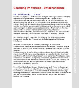 """Coaching im Vertrieb - Zwischenbilanz Mit den Menschen """"1Voraus"""""""