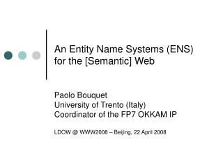 An Entity Name Systems (ENS) for the [Semantic] Web