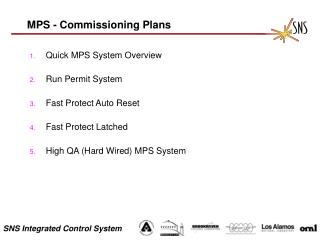 MPS - Commissioning Plans