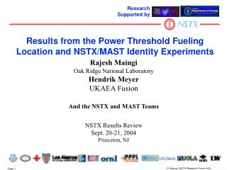 Results from the Power Threshold Fueling Location and NSTX/MAST Identity Experiments
