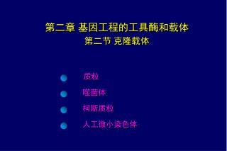 第二章  基因工程的工具酶和载体 第二节 克隆载体