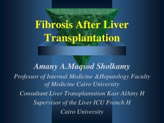 Fibrosis After Liver Transplantation