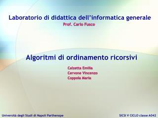Laboratorio di didattica dell�informatica generale Prof. Carlo Fusco