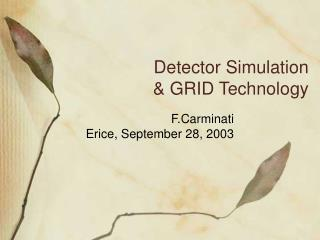 Detector Simulation & GRID Technology