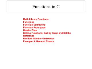 Functions in C