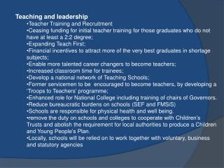 Teaching and leadership Teacher Training and Recruitment