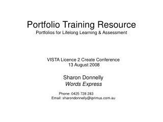 Portfolio Training Resource Portfolios for Lifelong Learning  Assessment