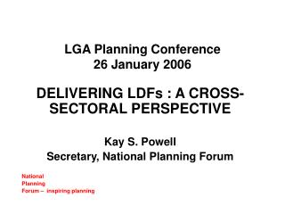 LGA Planning Conference  26 January 2006