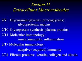 Section 11  Extracellular Macromolecules