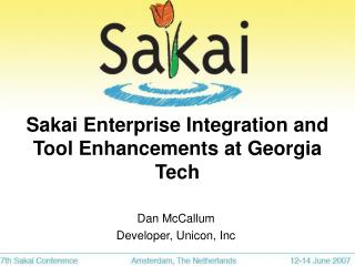 Sakai Enterprise Integration and Tool Enhancements at Georgia Tech