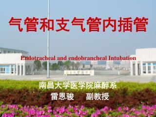 气管和支气管内插管 Endot racheal and endobrancheal Intubation