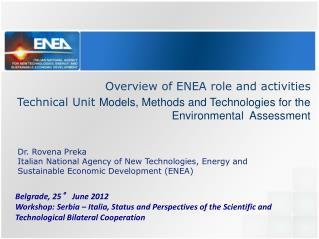 Overview of ENEA role and activities