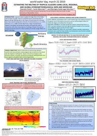 ESTIMATING THE MELTING OF TROPICAL GLACIERS USING LOCAL, REGIONAL,