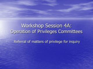 Workshop Session 4A: Operation of Privileges Committees