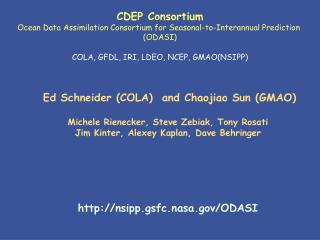 CDEP Consortium Ocean Data Assimilation Consortium for Seasonal-to-Interannual Prediction  (ODASI)