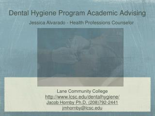 Dental Hygiene Program Academic Advising
