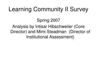 Learning Community II Survey
