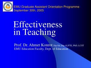 EMU Graduate Assistant Orientation Programme September 30th, 2005