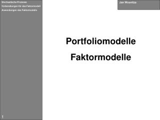 Portfoliomodelle Faktormodelle