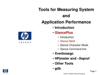 Tools for Measuring System  and  Application Performance