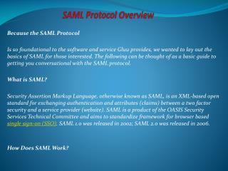 SAML Protocol Overview