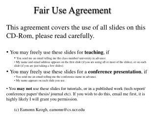 Fair Use Agreement