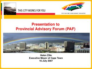 Presentation to  Provincial Advisory Forum (PAF)