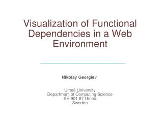 Visualization of Functional Dependencies in a Web Environment