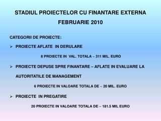 STADIUL PROIECTELOR CU FINANTARE EXTERNA FEBRUARIE 2010