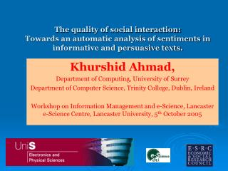 Khurshid Ahmad, Department of Computing, University of Surrey