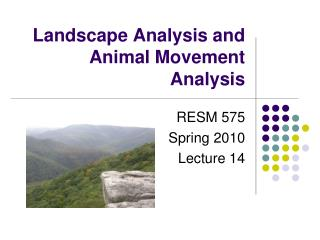 Landscape Analysis and Animal Movement Analysis