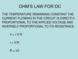 OHM'S LAW FOR DC