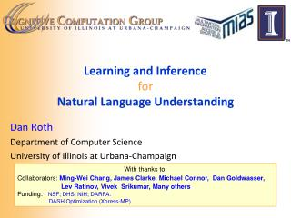 Learning and Inference for Natural Language Understanding
