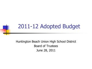 2011-12 Adopted Budget