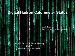 Digital Hadron Calorimeter Status