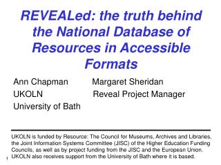 REVEALed: the truth behind the National Database of Resources in Accessible Formats