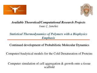 Continued development of Probabilistic Molecular Dynamics