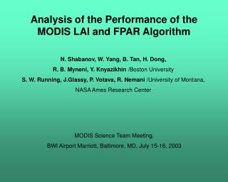 Analysis of the Performance of the  MODIS LAI and FPAR Algorithm