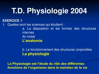 T.D. Physiologie 2004