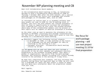 November WP planning meeting and CB