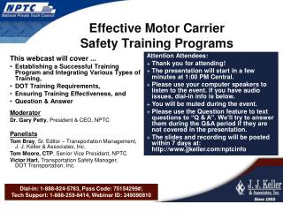 Effective Motor Carrier  Safety Training Programs