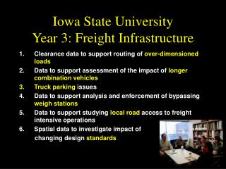 Iowa State University Year 3: Freight Infrastructure